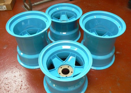 Blue wheels after refurbishment